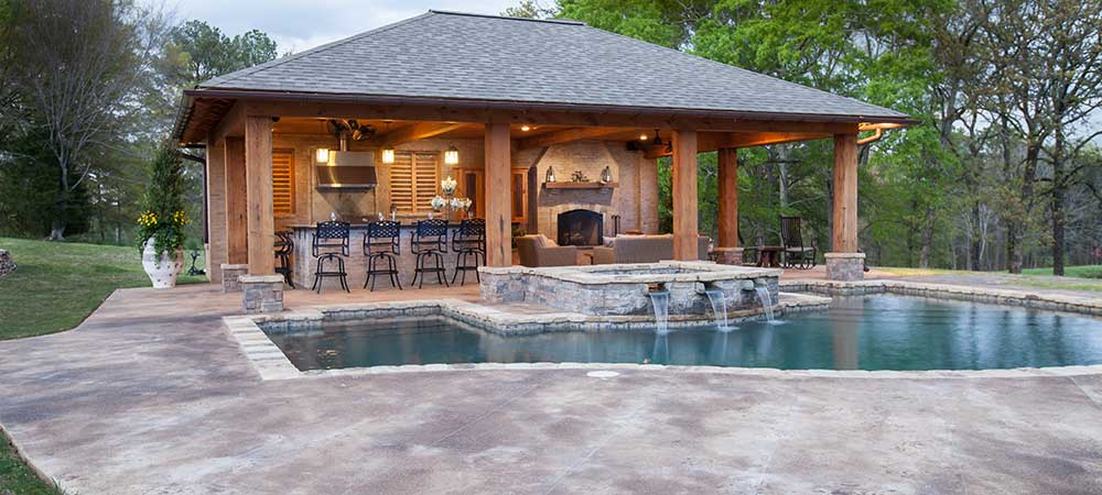 Pool house designs outdoor solutions jackson ms for Garage pool house combos