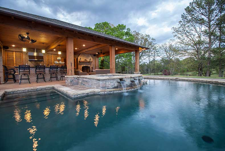 Swimming pools and water features outdoor solutions for Backyard designs with pool and outdoor kitchen